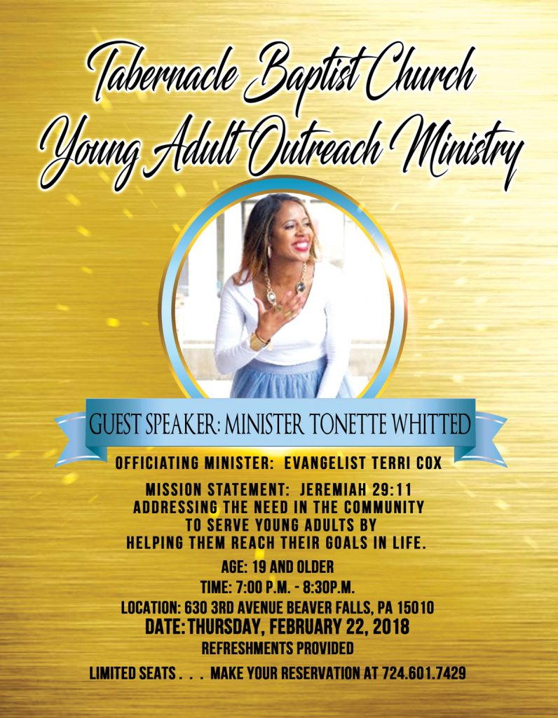 TABERNACLE BAPTIST CHURCH YOUNG ADULT OUTREACH MINISTRY